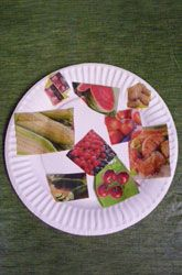 "HIde food pics around the room.  Children find the ""healthy"" foods that make you strong and leave the ""unhealthy"" foods."