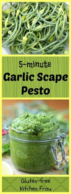 Garlic Scape Pesto - intensely flavourful and delicious. Tips for using garlic scapes and many ways to use the pesto.