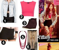 Get Tiffany's look from I Got a Boy MV (Street Style)  1. Forever 21: Rhinestone & Beaded Denim Jacket   2. Topshop: Stretch Sleeveless Crop Top   3. Pieces: Badia Suede Sneakers   4. Charlotte Russe: Zip-Back High Waist Millennium Shorts   5. Forever 21: Colored Bead Necklace   6. Clair Fashion: Tattoo Print Tights @YesStyle.com