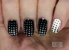"""Lola's Dotty Mani:  Orly """"Black Vinyl"""", OPI """"Alpine Snow"""", stamped with Cheeky CH10 image plate, Seche Vite top coat."""