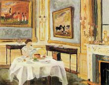 """Her Majesty the Queen at Breakfast painted by Philip, 1957. Robert Lacey described the painting as """"a tender portrayal, impressionistic in style, with brushstrokes that are charmingly soft and fuzzy""""."""