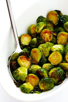 My favorite recipe for classic Roasted Brussels Sprouts. They\'re easy to make with whatever other seasonings sound good, but the classic recipe is hard to beat! | gimmesomeoven.com