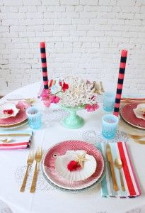pink & blue table setting with aqua milk glass cake stand Coral Centerpieces, Blue Table Settings, Milk Glass Cake Stand, Dinner Party Table, Under The Sea Party, Sea Theme, Diy Party Decorations, Parties, Pink Blue