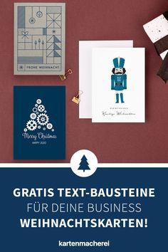Die Weihnachtstexte bleiben deinen Kunden im Gedächtnis! Vermeide diese Fehler in deinen Weihnachtstexten auf deiner geschäftlichen Weihnachtskarte, damit die Karte ein voller Erfolg wird! Mit diesen Tricks wird deine geschäftliche Karte zu Weihnachten ein Erfolg und bindet deine Kunde nachhaltig an dich! Gestalte mit Hilfe unserer Textbausteine eine professionelle Business Weihnachtskarte für deine Kunden - egal ob du Entrepreneur oder Mittelständler bist! Tricks, Cards Against Humanity, Business, Diy, Christmas Is Coming, Custom Holiday Cards, Company Christmas Party Ideas, Bricolage, Do It Yourself
