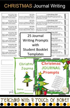 "Need ideas to get your students writing during this holiday season? Promote writing with these Christmas journal writing prompts.  The ""Christmas Journal Prompts"" package contains 25 writing prompts that you can use to support the development of your students' writing skills."