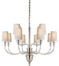Visual Comfort Thomas OBrien Vivian 12 Light Chandelier in Polished Nickel TOB5033PN-NP photo