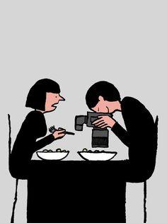 El mal uso de la tecnología no nos hace más avanzados, sino más estúpidos. Creado por el ilustrador francés, Jean Jullien.
