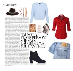 """""""blue and dark red"""" by eliquiroga on Polyvore featuring moda, Prada, LE3NO, Nudie Jeans Co., LULUS y Janessa Leone"""