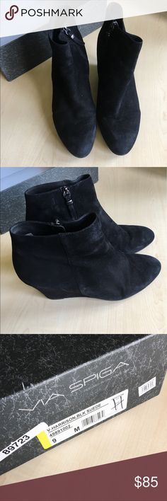 Via Spiga Suede Ankle Suede Platform Boots Via Spiga V- Harrison Suede Wedge Platform Ankle Boots  Size: 9M  Box included - preowned  -C- Via Spiga Shoes Ankle Boots & Booties
