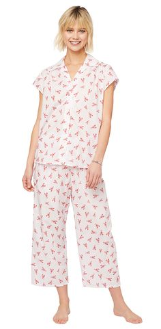 f6cfebb76 The Cat s Pajamas Women s Mister Lobster Luxe Pima Capri Pajama Set