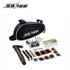SAHOO 15 in 1 Cycling Bicycle Tools Bike Repair Kit Set with Pouch Pump Black Bicycle Accessories  Mountain  Screwdriver Tool