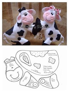 Cow pattern, just lovely ,nice as a brooch, or bag charm Felt Patterns, Craft Patterns, Sewing Patterns, Sewing Toys, Sewing Crafts, Sewing Projects, Diy Projects, Sewing Stuffed Animals, Stuffed Animal Patterns