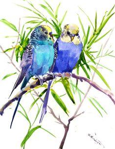 Watercolor Bird, Watercolor Animals, Watercolor Paintings, Watercolors, Love Birds Painting, Bee Painting, Beautiful Flower Drawings, Love Wall Art, Bird Art