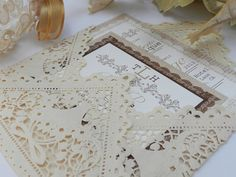 Lace Vintage Rustic Wedding Invitations by MyMemorableDesigns