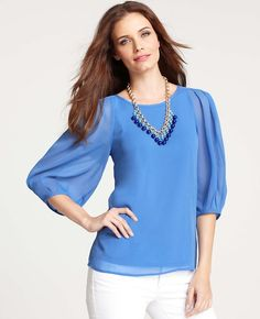 Ann Taylor - AT Blouses Tops - Pleated 3/4 Sleeve Georgette Top