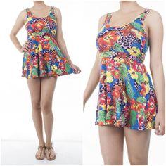 ebclo - Lovely Floral Ultra Short Mini Skater Dress Sleeveless Round Neck NEW $13.00 Free Domestic Shipping