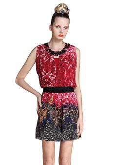Red Sleeveless Sequined Petal Print Silk Dress - Sheinside.com