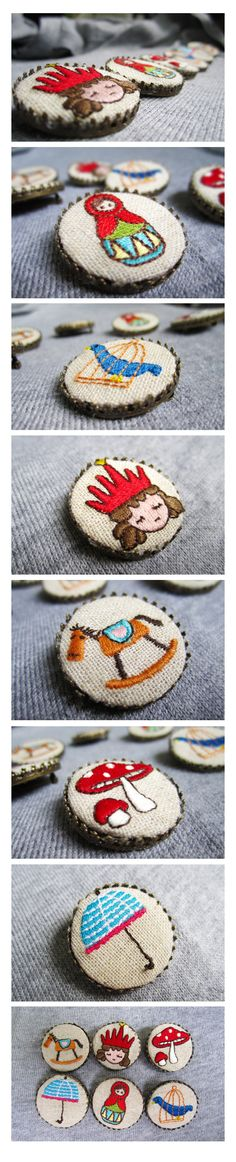 Embroidered brooches...make these as buttons?