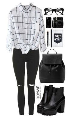 """""""Romwe"""" by fragmentoftheuniverse ❤ liked on Polyvore featuring Topshop, MANGO and Casetify"""