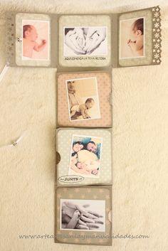 Blog dedicado a la artesanía, las manualidades y el arte en general Mini Albums Scrap, Mini Scrapbook Albums, Scrapbook Pages, Handmade Scrapbook, Vintage Scrapbook, Book Crafts, Paper Crafts, Baby Journal, Handmade Journals