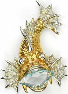 MB Boucher Gold Pave and Giant Aquamarine Navette Rock Fish Pin