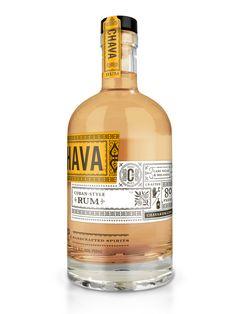 I love Rum and this label design. Chava Rum Packaging by Joel Kreutzer Cool Packaging, Beverage Packaging, Bottle Packaging, Brand Packaging, Design Packaging, Coffee Packaging, Whisky, Alcohol Bottles, Liquor Bottles