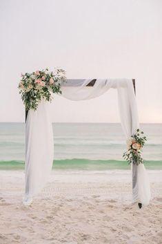 Simple Beach Wedding Decor Inspiration Florida Wedding Flowers Photography Lin … – Famous Last Words Simple Wedding Arch, Wedding Ceremony Ideas, Wedding Arch Flowers, Beach Ceremony, Beach Wedding Decorations, Ceremony Arch, Ceremony Decorations, Simple Weddings, Wedding Beach
