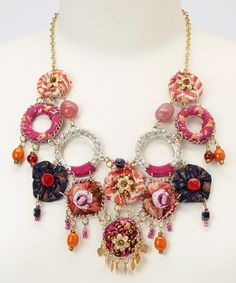 Silver & Fuchsia Fabric Discs Bib Necklace