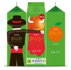 Les fonctions: Technique: Les bouteilles sont en carton plastifié d'un volume d'1L. Communication: A l'instar de Monoprix, Tecsco est très actif dans la recherche en packaging. Les bouteilles de Jus d'Orange sont liées par le décor qu'elle reprénte et incite donc le consommateur à acheter par 3. Par ailleurs, le packaging met en avant l'origine du produit comme gage de qualité