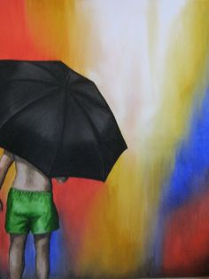 "Artist K. Sarath artwork ""Rain"" which will be on display at Exposition Collective - A Group Art Show by Pearey Lal Bhawan from 5th - 12th December, 2016. The painting is about  a boy with an umbrella watching the rain. No imagery beyond the rain is shown and the back drop is abstract only showing the water dripping effect.  #artizen #artizenartgallery #groupshow #groupartshow #artshow #plb #peareylalbhawan #artist #art #sculpture #photography #photograph #expositioncollective #newinitiative"