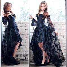 The Corset Emporium Goth Wedding Dresses, Gothic Prom Dresses, Halloween Wedding Dresses, Gothic Gowns, Pretty Dresses, Beautiful Dresses, Long Lace Skirt, Goth Princess, Queen Costume