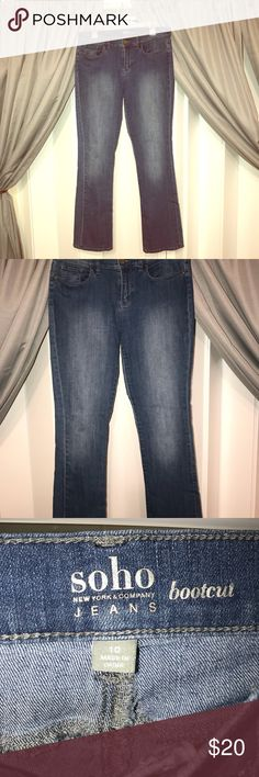New York and company soho jeans Jeans have a stretch to them and are super comfy! Lite denim wash, bootcut style. Very gently used. Worn once if that. New York & Company Jeans Boot Cut