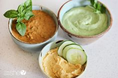 Three dips for summer - fresh tomato, cilantro lime, and lemony hummus dips.