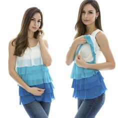 Maternity Breastfeeding Clothes Summer Tee Sleeveless Nursing Top Chiffon Vest #Bearsland #Blouse #Casual