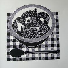 Linocut by Jan Brewerton - Harlequin Gallery - Contemporary British Art and Craft White Art, Black And White, Stamp Printing, Tampons, Jaba, Linocut Prints, Printmaking, Illustration Art, Arts And Crafts