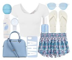 """""""summer days"""" by j-n-a ❤ liked on Polyvore featuring Marc by Marc Jacobs, Eos, Essie, Havaianas, H&M, Michael Kors and Quay"""