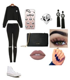 """ALIEN STYLE"" by kailanidg ❤ liked on Polyvore featuring Topshop, Converse, Casetify, Disturbia, Oscar de la Renta and Calvin Klein"