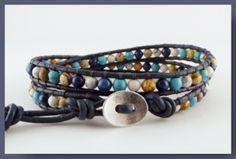 Heren armbanden - Leren heren double wraparmband (half)edelsteen mix - Een uniek product van Unycq op DaWanda