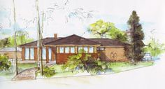 sketch of a family house