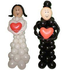 Hochzeitspaar: Figuren aus Luftballons