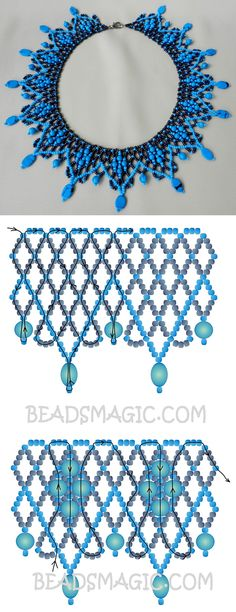 Free pattern for necklace Blue seed beads 11/0 round beads 6 mm flat oval beads
