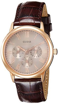 Guess Men's Quartz Watch with Beige Dial Analogue Display and Brown Leather Bracelet Casual Watches, Cool Watches, Watches For Men, Guess Watches, Latest Watches, Wrist Watches, Couleur Or Rose, Grey Watch, Fossil Watches