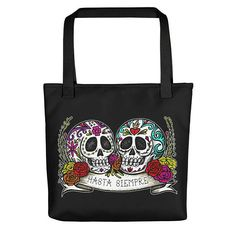 DOS ESTRELLAS is proud to now offer our designs on Totes, Mugs, Shirts + more coming soon! Lined Notebook, Sugar Skull, Reusable Tote Bags, Valentines, Pairs, America, Etsy, Products, Valentine's Day Diy