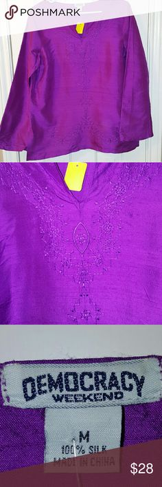 100% Silk Embroidered Purple Blouse 100% Silk Embroidered Purple Blouse by Democracy Weekend. Size Medium. Like New. Dry clean only. Beautiful. Democracy Weekend Tops Blouses