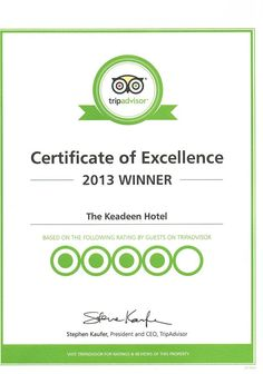 Tripadvisor 2013 Certificate of Excellence. Thank you to all our customers for helping us achieve this honour!!! :)