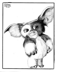 Gizmo by trephinate on DeviantArt Cartoon Sketches, Art Sketches, Gizmo Tattoo, Animal Drawings, Art Drawings, 1980 Cartoons, Gremlins Gizmo, Movie Co, Lion King Art