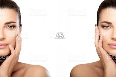 Surgery and Anti Aging Concept. Two Half Face Portraits royalty-free stock photo