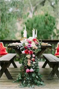 Greenery + rose table runner