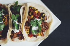 These vegan breakfast tacos are your answer to breakfast or dinner! They're stuffed with a seasoned tofu scramble, crispy potatoes, sour cream, and salsa. Breakfast Tacos, Vegan Breakfast, Breakfast Time, Breakfast Ideas, Breakfast Recipes, Scrambled Tofu Recipe, Tofu Scramble, Vegan Tacos, Vegetarian Diets
