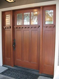 This is what our front door looks like except that ours has leaded glass in the window areas and different hardware.